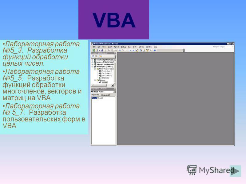 VBA Лабораторная работа 5_3. Разработка функций обработки целых чисел. Лабораторная работа 5_5. Разработка функций обработки многочленов, векторов и матриц на VBA Лабораторная работа 5_7. Разработка пользовательских форм в VBA