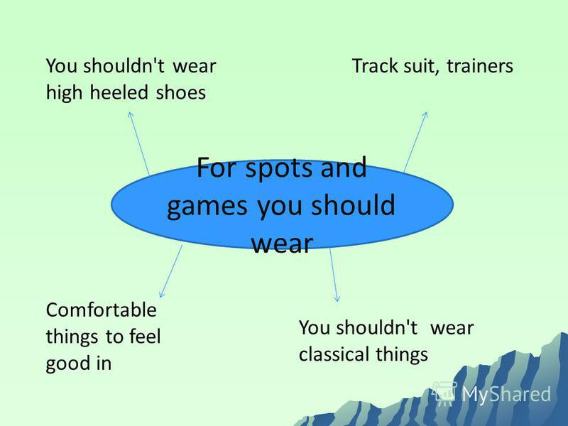 For spots and games you should wear You shouldn't wear high heeled shoes Track suit, trainers You shouldn't wear classical things Comfortable things to feel good in