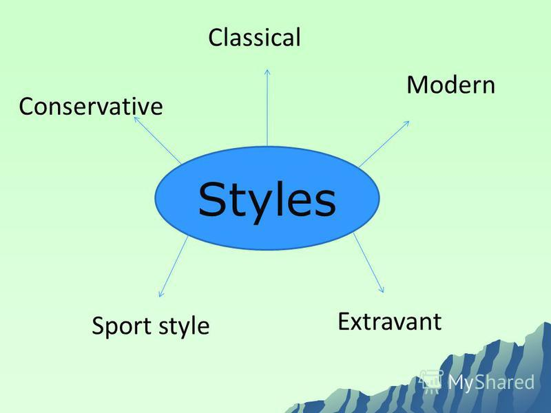 Styles Classical Modern Extravant Sport style Conservative