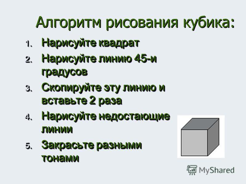 Алгоритм рисования кубика: 1. Нарисуйте квадрат 2. Нарисуйте линию 45-и градусов 3. Скопируйте эту линию и вставьте 2 раза 4. Нарисуйте недостающие линии 5. Закрасьте разными тонами 1. Нарисуйте квадрат 2. Нарисуйте линию 45-и градусов 3. Скопируйте