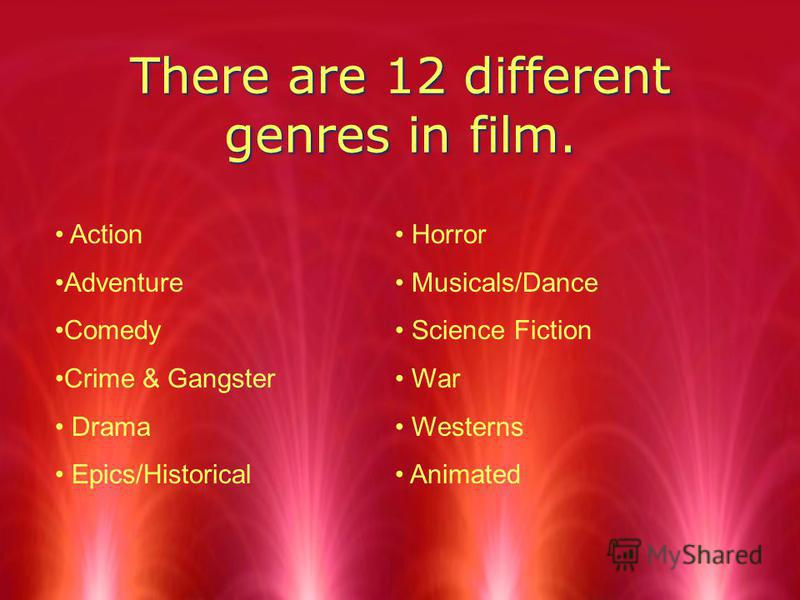 There are 12 different genres in film. Action Adventure Comedy Crime & Gangster Drama Epics/Historical Horror Musicals/Dance Science Fiction War Westerns Animated