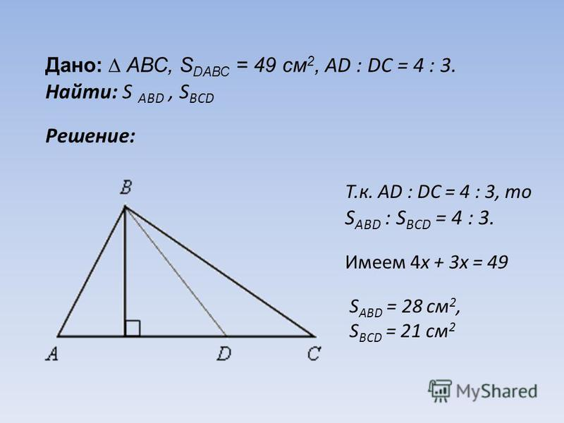Дано: АВС, S DАВС = 49 см 2, АD : DС = 4 : 3. Найти: S АВD, S ВСD Решение: Т.к. АD : DС = 4 : 3, то S АВD : S ВСD = 4 : 3. Имеем 4 х + 3 х = 49 S АВD = 28 см 2, S ВСD = 21 см 2