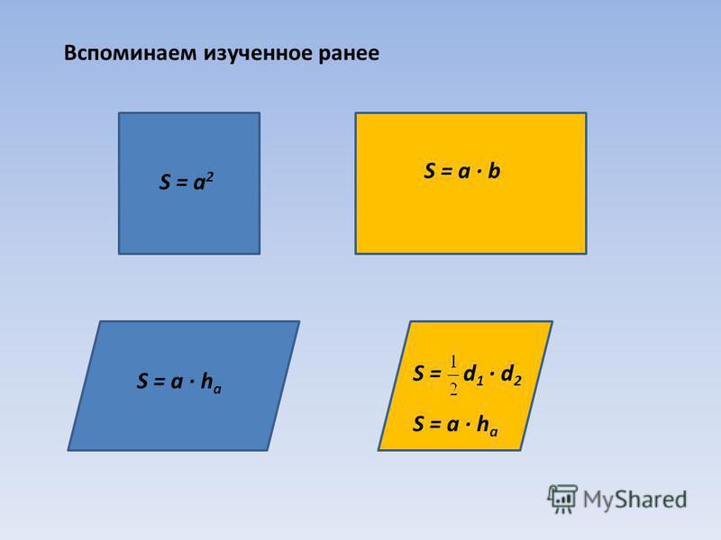 S = а · b S = а 2 S = а · h a S = d 1 · d 2 S = а · h a Вспоминаем изученное ранее