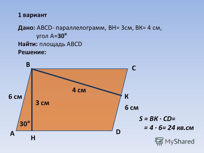 1 вариант Дано: АВCD- параллелограмм, ВН= 3 см, ВК= 4 см, угол А=30° Найти: площадь АВСD Решение: 30° А В С D 3 см 4 см Н К 6 см S = ВК · CD= = 4 · 6= 24 кв.см