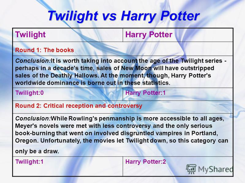 Twilight vs Harry Potter TwilightHarry Potter Round 1: The books Conclusion:It is worth taking into account the age of the Twilight series - perhaps in a decade's time, sales of New Moon will have outstripped sales of the Deathly Hallows. At the mome