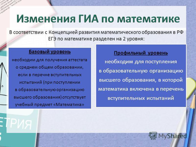 В соответствии с Концепцией развития математического образования в РФ ЕГЭ по математике разделен на 2 уровня: Базовый уровень необходим для получения аттестата о среднем общем образовании, если в перечне вступительных испытаний (при поступлении в обр