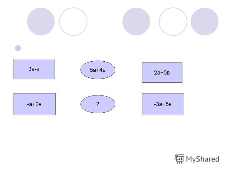 3 а-в -а+2 в 5 а+4 а 5 а+4 в ? 2 а+5 в -3 а+5 в