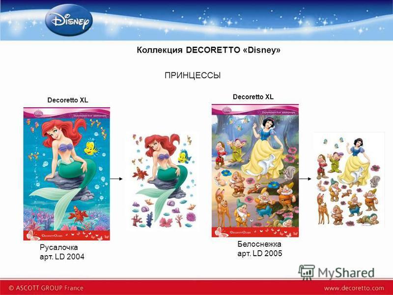 Коллекция DECORETTO «Disney» Decoretto XL Русалочка арт. LD 2004 Белоснежка арт. LD 2005 ПРИНЦЕССЫ