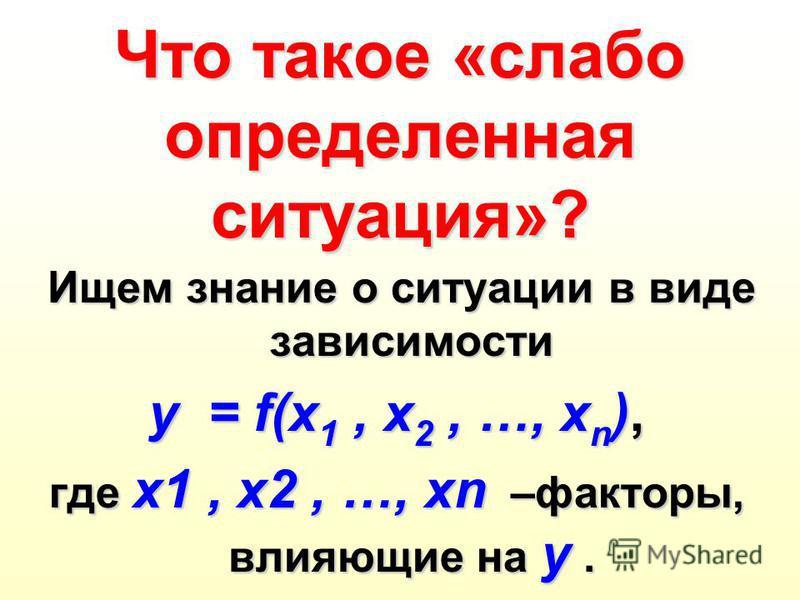 Что такое «слабо определенная ситуация»? Ищем знание о ситуации в виде зависимости y = f(x 1, x 2, …, x n ), где x1, x2, …, xn –факторы, влияющие на y.