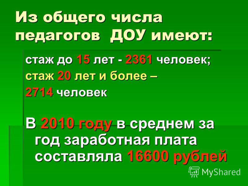 Из общего числа педагогов ДОУ имеют: стаж до 15 лет - 2361 человек; стаж 20 лет и более – 2714 человек В 2010 году в среднем за год заработная плата составляла 16600 рублей