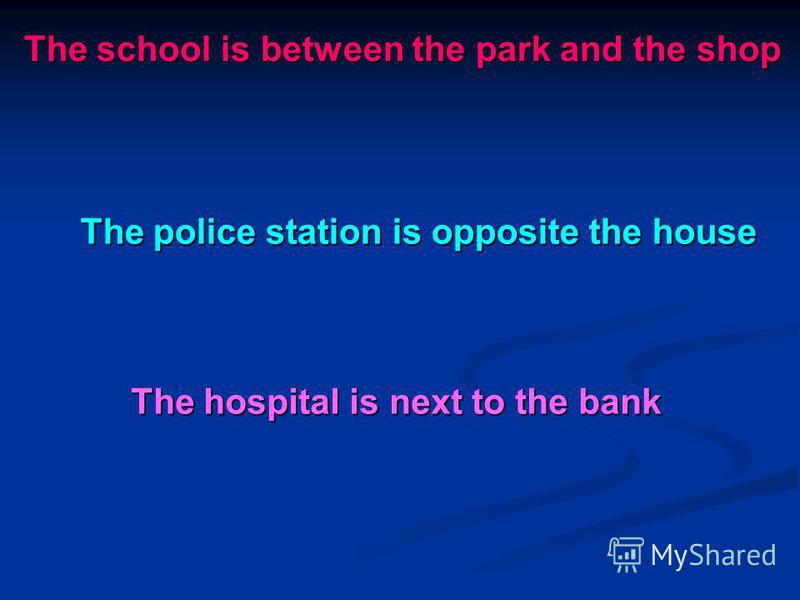 The school is between the park and the shop The police station is opposite the house The hospital is next to the bank