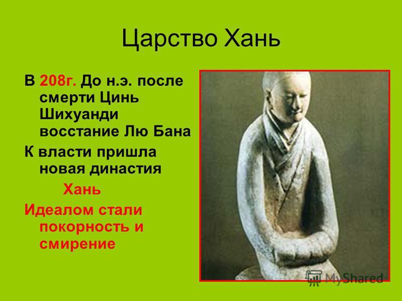 Царство Хань В 208 г. До н.э. после смерти Цинь Шихуанди восстание Лю Бана К власти пришла новая династия Хань Идеалом стали покорность и смирение