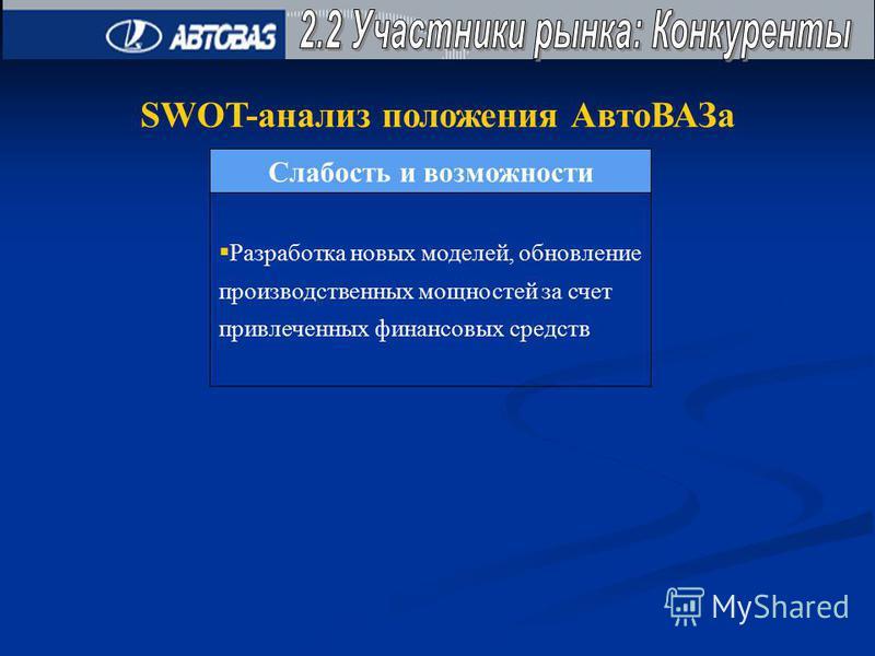 SWOT-анализ положения Авто ВАЗа Слабость и возможности Разработка новых моделей, обновление производственных мощностей за счет привлеченных финансовых средств