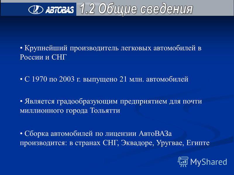 Крупнейший производитель легковых автомобилей в России и СНГ С 1970 по 2003 г. выпущено 21 млн. автомобилей Является градообразующим предприятием для почти миллионного города Тольятти Сборка автомобилей по лицензии Авто ВАЗа производится: в странах С