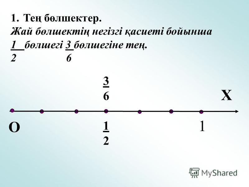 1.Тең бөлшектер. Жай бөлшектің негізгі қасиеті бойынша 1 бөлшегі 3 бөлшегіне тең. 2 6 Х О 1 3636 1212