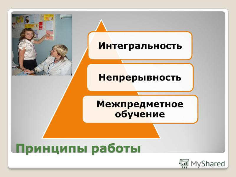 Принципы работы Интегральность Непрерывность Межпредметное обучение