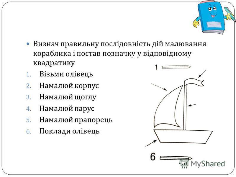 Визнач правильну послідовність дій малювання кораблика і постав позначку у відповідному квадратику 1. Візьми олівець 2. Намалюй корпус 3. Намалюй щоглу 4. Намалюй парус 5. Намалюй прапорець 6. Поклади олівець