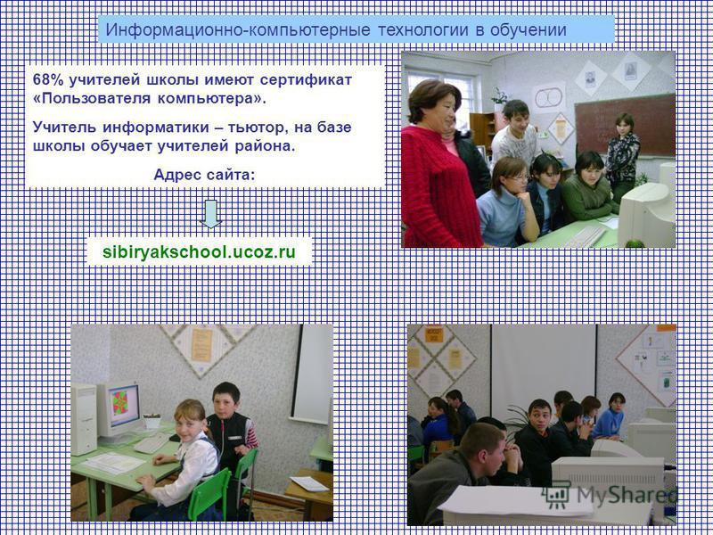 sibiryakschool.ucoz.ru Информационно-компьютерные технологии в обучении 68% учителей школы имеют сертификат «Пользователя компьютера». Учитель информатики – тьютор, на базе школы обучает учителей района. Адрес сайта: