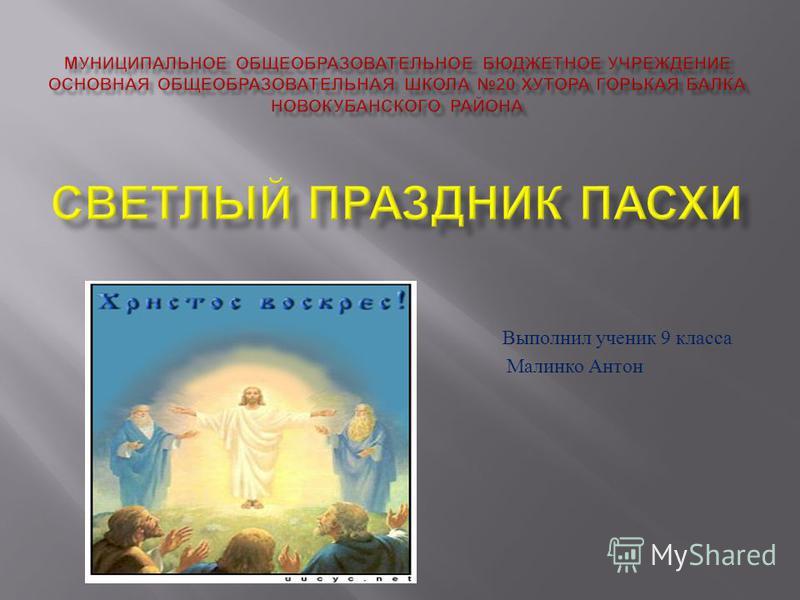 Выполнил ученик 9 класса Малинко Антон