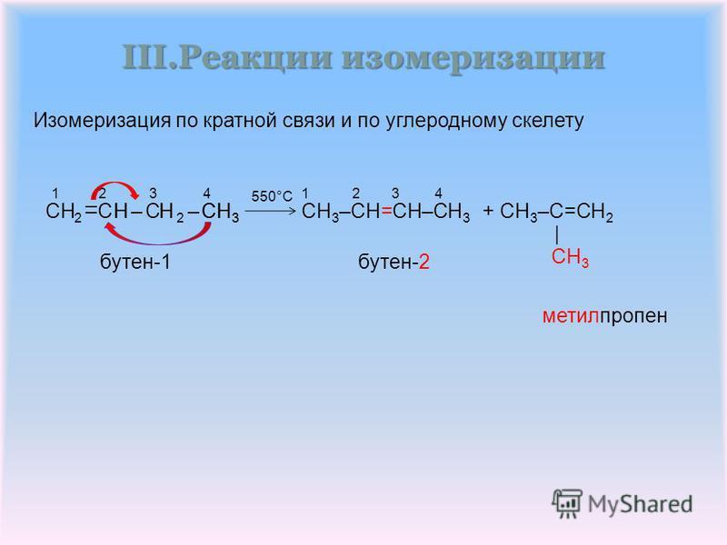 III.Реакции изомеризации метилпропен +CH 3 –CH=CH–CH 3 CH 3 –C=CH 2 бутен-2 бутен-1 550°C 1 2 31 2 3 4 CH C CH 2 HCH 3 – | – – | 3 H 2 – 4 –H– Изомеризация по кратной связи по углеродному скелету