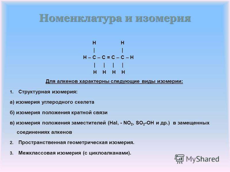 Номенклатура и изомерия H H | | H – C – C = C – C – H | | | | H H H H Для алкенов характерны следующие виды изомерии: 1. Структурная изомерия: а) изомерия углеродного скелета б) изомерия положения кратной связи в) изомерия положения заместителей (Hal