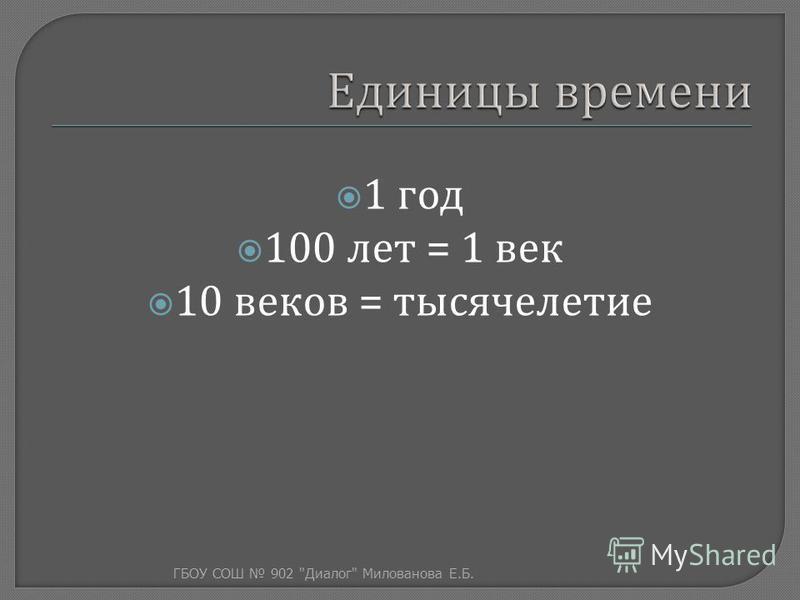 1 год 100 лет = 1 век 10 веков = тысячелетие ГБОУ СОШ 902  Диалог  Милованова Е. Б.