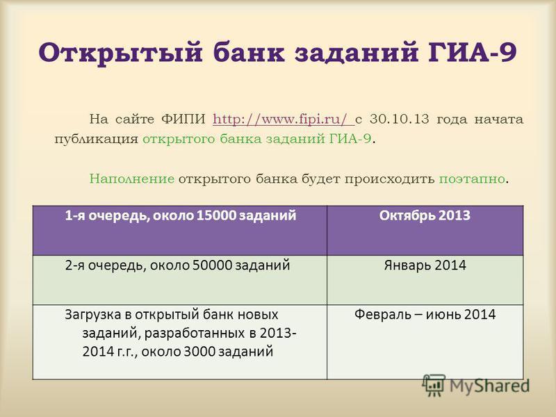 Открытый банк заданий ГИА-9 На сайте ФИПИ http://www.fipi.ru/ с 30.10.13 года начата публикация открытого банка заданий ГИА-9. Наполнение открытого банка будет происходить поэтапно. 1-я очередь, около 15000 заданий Октябрь 2013 2-я очередь, около 500