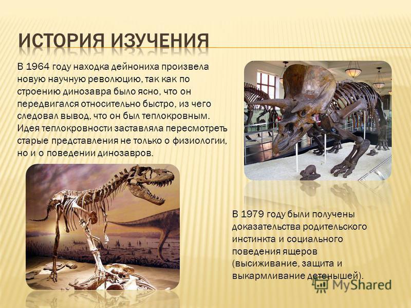 В 1964 году находка дейнониха произвела новую научную революцию, так как по строению динозавра было ясно, что он передвигался относительно быстро, из чего следовал вывод, что он был теплокровным. Идея теплокровности заставляла пересмотреть старые пре