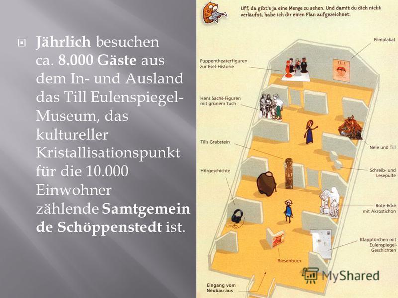 Jährlich besuchen ca. 8.000 Gäste aus dem In- und Ausland das Till Eulenspiegel- Museum, das kultureller Kristallisationspunkt für die 10.000 Einwohner zählende Samtgemein de Schöppenstedt ist.