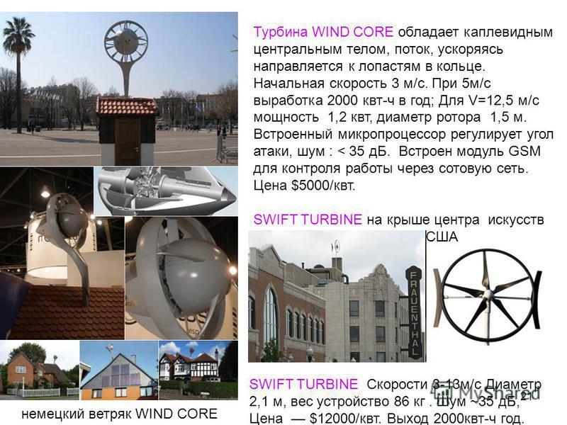 21 немецкий ветряк WIND CORE Турбина WIND CORE обладает каплевидным центральным телом, поток, ускоряясь направляется к лопастям в кольце. Начальная скорость 3 м/с. При 5 м/с выработка 2000 квт-ч в год; Для V=12,5 м/с мощность 1,2 квт, диаметр ротора
