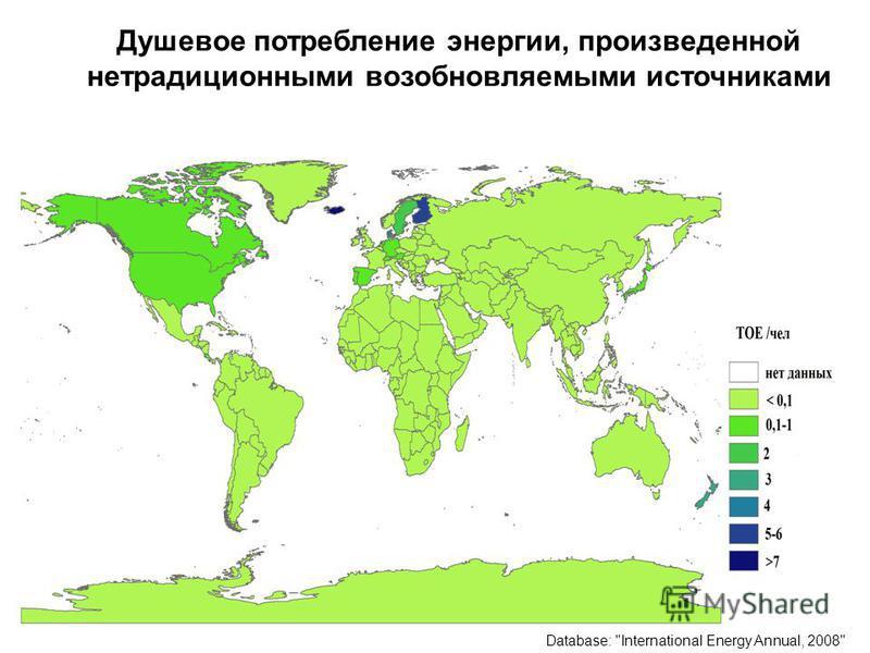 3 Душевое потребление энергии, произведенной нетрадиционными возобновляемыми источниками Database: International Energy Annual, 2008