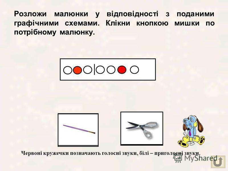 Визначи кількість звуків в назві кожного малюнка і клікни кнопкою мишки по обраній цифрі.
