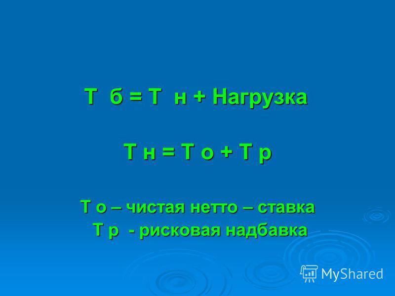 Т б = Т н + Нагрузка Т н = Т о + Т р Т о – чистая нетто – ставка Т р - рисковая надбавка Т р - рисковая надбавка