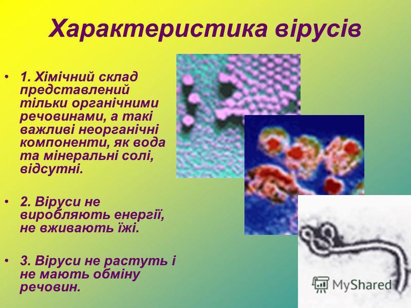 Характеристика вірусів 1. Хімічний склад представлений тільки органічними речовинами, а такі важливі неорганічні компоненти, як вода та мінеральні солі, відсутні. 2. Віруси не виробляють енергії, не вживають їжі. 3. Віруси не растуть і не мають обмін