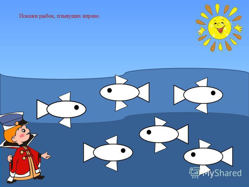 Золотая рыбка предлагает Вовке поиграть с рыбками.