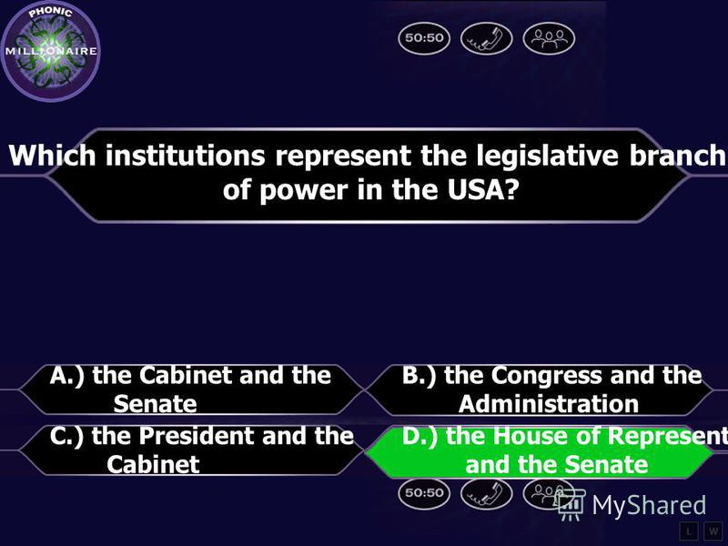 Which institutions represent the legislative branch of power in the USA? A.) The Cabinet and the Senate B.) the Congress and the Administration C.) the President and the Cabinet D.) the House of Representatives and the Senate LW