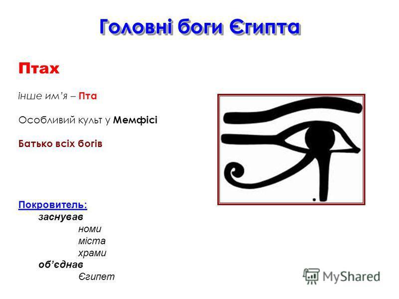 Головні боги Єгипта Птах інше имя – Пта Особливий культ у Мемфісі Батько всіх богів Покровитель: заснував номи міста храми обєднав Єгипет