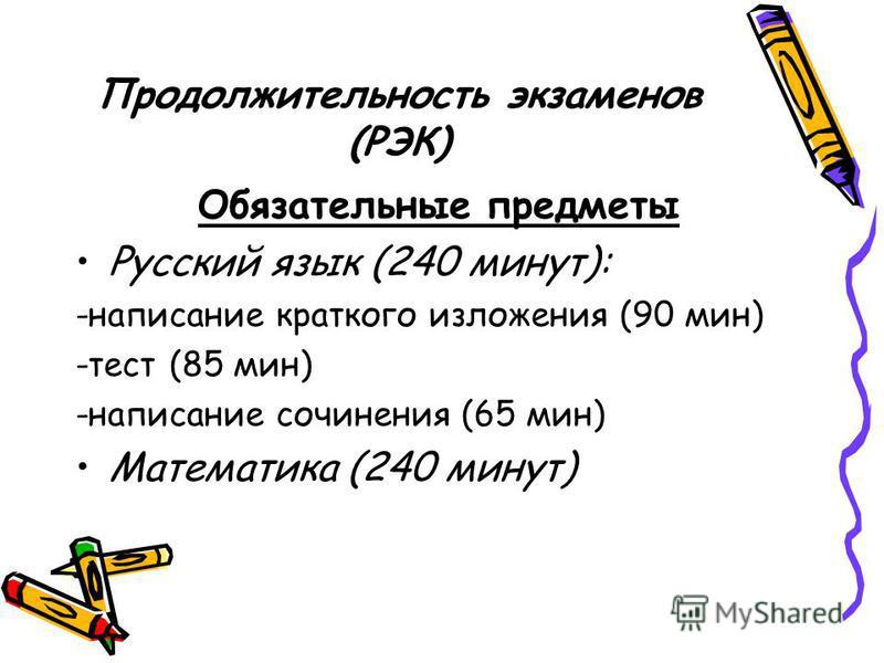 Продолжительность экзаменов (РЭК) Обязательные предметы Русский язык (240 минут): -написание краткого изложения (90 мин) -тест (85 мин) -написание сочинения (65 мин) Математика (240 минут)