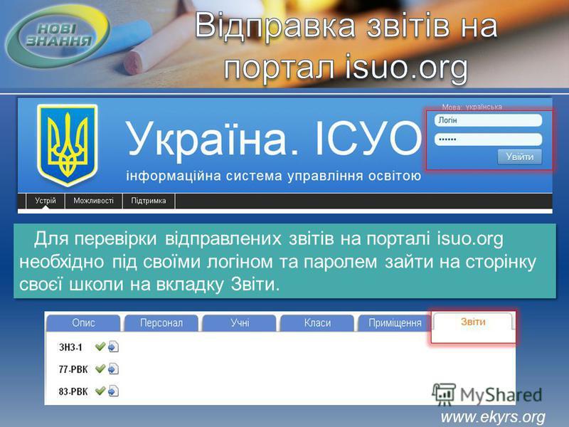 Для перевірки відправлених звітів на порталі isuo.org необхідно під своїми логіном та паролем зайти на сторінку своєї школи на вкладку Звіти. www.ekyrs.org