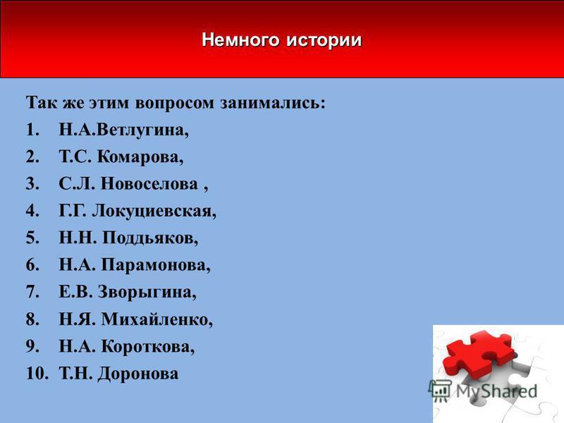 Так же этим вопросом занимались: 1.Н.А.Ветлугина, 2.Т.С. Комарова, 3.С.Л. Новоселова, 4.Г.Г. Локуциевская, 5.Н.Н. Поддьяков, 6.Н.А. Парамонова, 7.Е.В. Зворыгина, 8.Н.Я. Михайленко, 9.Н.А. Короткова, 10.Т.Н. Доронова Немного истории
