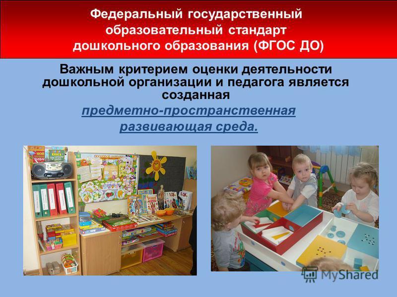 Важным критерием оценки деятельности дошкольной организации и педагога является созданная предметно-пространственная развивающая среда. Федеральный государственный образовательный стандарт дошкольного образования (ФГОС ДО)