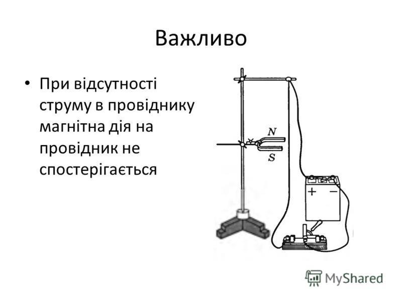 Важливо При відсутності струму в провіднику магнітна дія на провідник не спостерігається