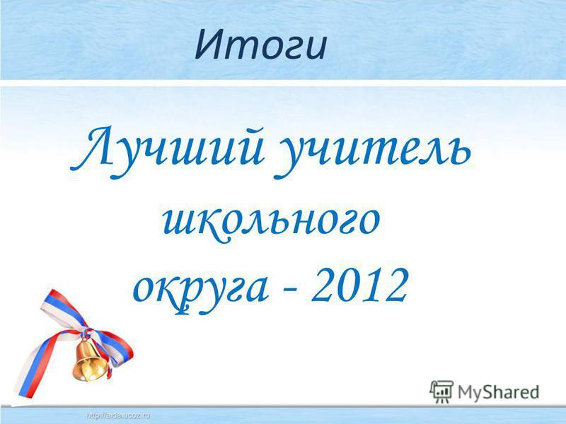 Итоги Лучший учитель школьного округа - 2012