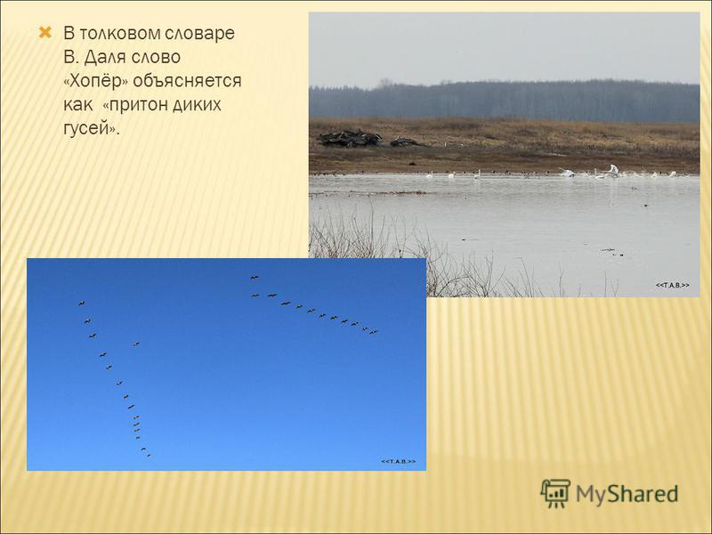 В толковом словаре В. Даля слово «Хопёр» объясняется как «притон диких гусей».