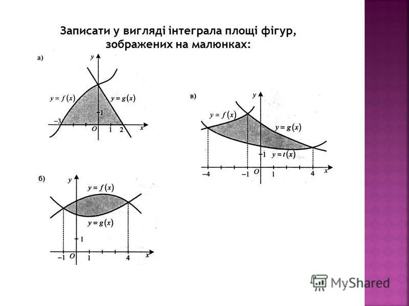 Записати у вигляді інтеграла площі фігур, зображених на малюнках: