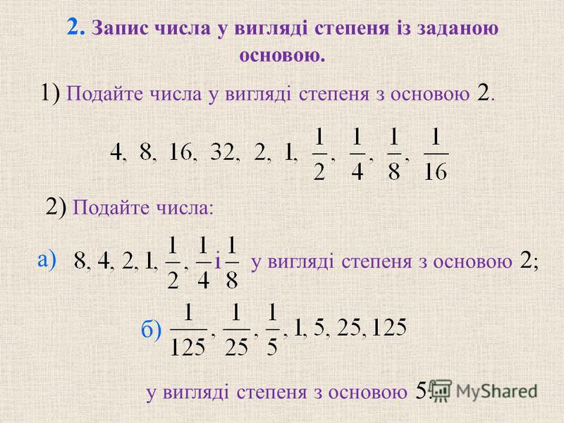 2. Запис числа у виглядi степеня iз заданою основою. 2) Подайте числа: у виглядi степеня з основою 2 ; у виглядi степеня з основою 5. 1) Подайте числа у виглядi степеня з основою 2. а) б)