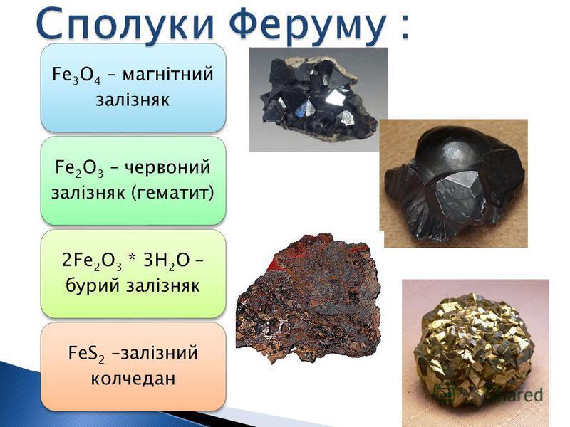 Fe3O4 – магнітний залізняк Fe2O3 – червоний залізняк (гематит) 2Fe2O3 * 3H2O – бурий залізняк FeS2 –залізний колчедан