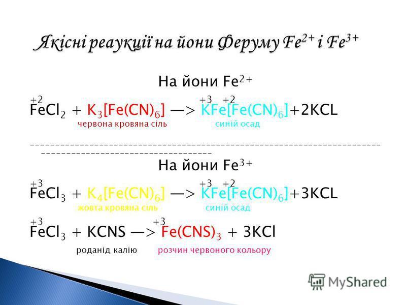 На йони Fe 2+ +2 +3 +2 FeCl 2 + K 3 [Fe(CN) 6 ] > KFe[Fe(CN) 6 ]+2KCL червона кровяна сіль синій осад ------------------------------------------------------------------------ ----------------------------------- На йони Fe 3+ +3 +3 +2 FeCl 3 + K 4 [Fe