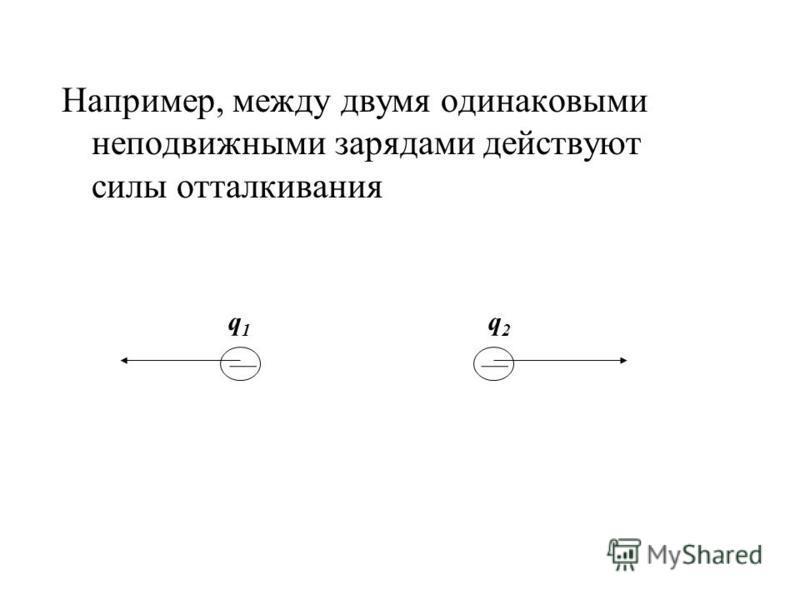 Например, между двумя одинаковыми неподвижными зарядами действуют силы отталкивания q1q1 q2q2
