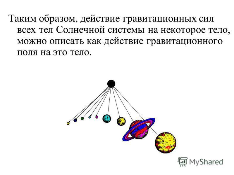 Таким образом, действие гравитационных сил всех тел Солнечной системы на некоторое тело, можно описать как действие гравитационного поля на это тело.